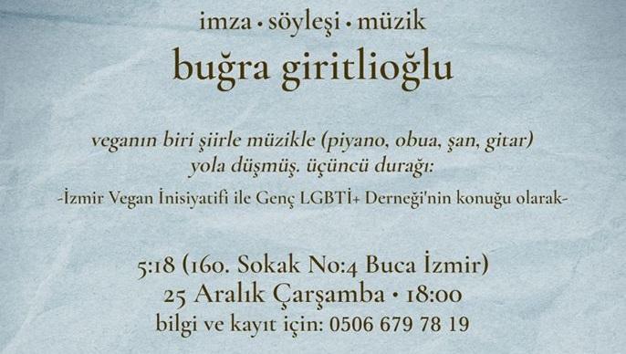 Buğra Giritlioğlu ile Vegan Şiir Gecesi yarın İzmir'de! Kaos GL - LGBTİ+ Haber Portalı